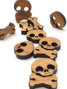 Halloween Mini Skull and Cross Bones Charms - Itsies - Laser Cut Wood Skull and Bones - Free Shipping . Timber Green Woods. $3.95, via Etsy.
