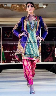 latest pakistani formal wear gown style purple sea green