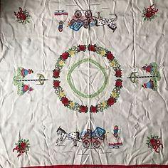 "Vintage Scandinavian Swedish Norwegian Hand Embroidery Linen Tablecloth 51"" Sq  | eBay"