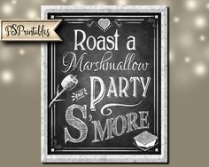 Smore Wedding sign - Roast a Marshmallow and Party S'More - Rustic Heart Chalkboard Collection - DIY PRINTABLE signage by PSPrintables on Etsy https://www.etsy.com/listing/265166896/smore-wedding-sign-roast-a-marshmallow