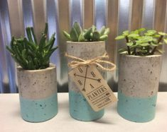 These concrete planters are designed for succulents or air plants. Each one is hand made and hand stained. Includes set of planters. Concrete Crafts, Concrete Projects, Concrete Design, Concrete Planters, Diy Planters, Succulent Planters, Planter Ideas, Garden Planters, Cement Art