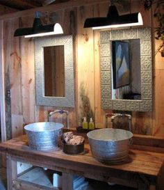 galvanized buckets for sinks ~ rustic bathroom Rustic Bathroom Sinks, Bathroom Ideas, Bathroom Vanities, Barn Bathroom, Sink Faucets, Bathroom Pink, Country Bathrooms, Basement Bathroom, Bathroom Modern