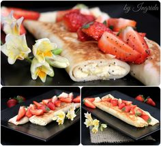 Lemon Ricotta Crepes Topped with Strawberries