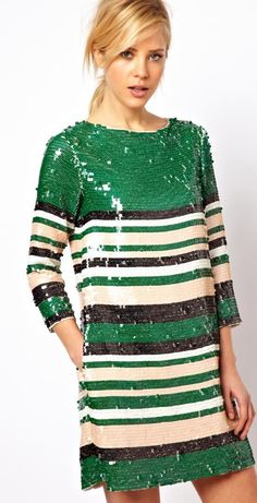 Buy ASOS Sequin Stripe Tee Dress at ASOS. With free delivery and return options (Ts&Cs apply), online shopping has never been so easy. Get the latest trends with ASOS now. Looks Style, Style Me, Green Sequin Dress, Stripe Dress, Glitter Dress, Navy Dress, Looks Party, Sequins And Stripes, Holiday Party Dresses