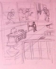 #thumbnail #sketching #process #webcomic #art  Here is a thumbnail of 1 out of the 4 pages that will complete the first issue of my  22 page comic.  webcomic url (penelopeandmonica.com)  Materials used:  Pink computer paper and pencil/pen