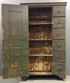 Primitive Painted Pine Cupboard - Price Estimate: $600 - $800