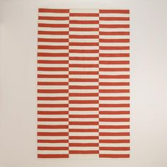 One of my favorite discoveries at WorldMarket.com: Cranberry Red and White Stripe Cotton Dhurrie Area Rug