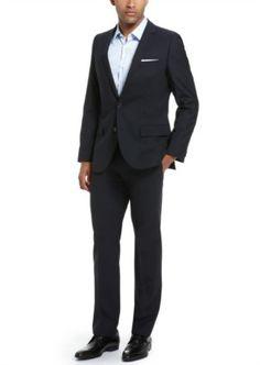 Honeystore Men's Trim Suits with Flap Front Pants Set