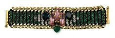 """AKONG LONDON GRAPHIC DECO EMBELLISHED GREEN BRACELET 24kt Gold Plated brass 7"""" length  Swarovski crystals Green Onyx Made in UK Retails for over $780 Comes with original Akong box"""