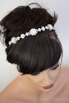 Pearl Bridal Headband, Ivory Pearl Rhinestone tiara, Band Tiara, Vintage Wedding Hair Accessories ,  Luxurious Valetta. $169.00, via Etsy.