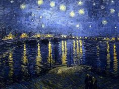 """Masterpieces Art Paintings HD Wallpapers (Vol.03 )   - Fine Art Painting : Van Gogh, Vincent: """"Starry night over the Rhone"""", 1889, Paris, Orsay 1"""