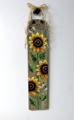 Sunflowers Yellow and Bumble Bees, Hand or Tole Painted on Reclaimed Barn Wood…