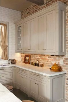 grey brick kitchen tiles kitchen brick wall modern kitchen decor with brick accent wall grey brick k Farmhouse Kitchen Cabinets, Modern Farmhouse Kitchens, Diy Kitchen, Kitchen Decor, Kitchen Ideas, Kitchen White, Farmhouse Style, Rustic Kitchen, Copper Kitchen