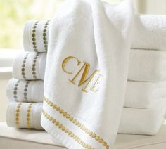 {Pearl Embroidered 700-Gram Weight Bath Towels | Pottery Barn} in Dark Porcelain Blue or Gray Mist