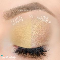 Lemon Quartz and Lime Shimmer ShadowSense side by side comparison.  These long-lasting SeneGence eyeshadows help create envious eye looks.  #eyeshadow #shadowsense