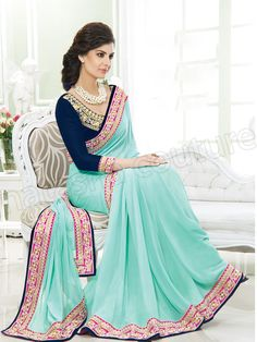 #Designer Sarees #Blue #Indian Wear #Desi Fashion #Natasha Couture #Indian Ethnic Wear
