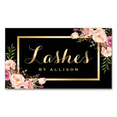 Lashes Script Modern Makeup Black Gold Floral Business Card...https://www.zazzle.com/CareerPathDESIGNInstitute?rf=238764005551314725
