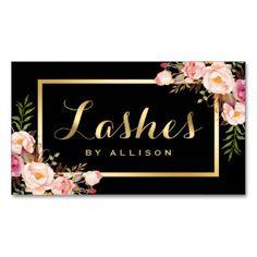 Lashes Script Modern Makeup Black Gold Floral Business Card