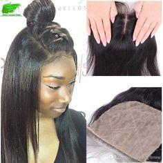 Brazilian Human Hair Silk Base Closure Straight Bleached Knots Unprocessed Human…