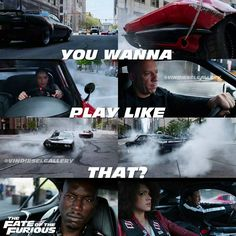 """Vin Diesel against the family fate of the furious 8 - """"You wanna play like Fate And Furious 8, Movie Fast And Furious, Furious Movie, Movie Memes, Movie Tv, Dom And Letty, Fast 8, Super Fast Cars, Rip Paul Walker"""