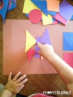 Make art with basic shapes!  Great learning activity for preschoolers.
