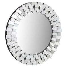 "Round wall mirror with a beveled mirror border. Product: MirrorConstruction Material: Mirrored glass and woodColor: SilverFeatures: Beveled glassDimensions: 36"" Diameter"