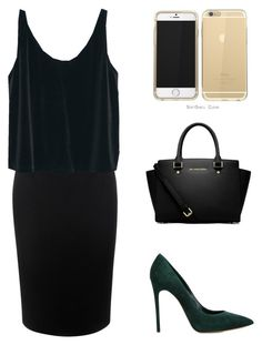 """""""Green VELVET Outfit (series of outfits,VELVET)"""" by jillian263737 ❤ liked on Polyvore featuring Casadei, Alexander McQueen, MANGO and MICHAEL Michael Kors"""