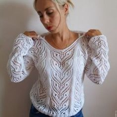This Pin Was Discovered By Фил - Diy Crafts Crochet Tunic, Lace Tunic, Lace Knitting, Knitting Stitches, Knitting Designs, Crochet Clothes, Crochet Lace, Knit Fashion, Knit Patterns