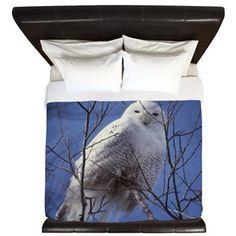 Snowy White Owl King Duvet  #DianeClancy