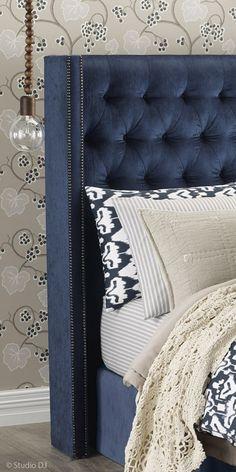 Heatherly Design Australia - custom headboard Waldorf Bedhead in Ella Ocean Velvet