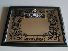 :D❤️NEW Estrella Jalisco Mexican Beer Mirror Man Cave Game Room Mexcanidad Bar Frame