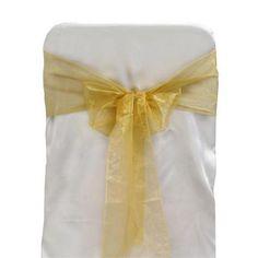 2.49 Gold Organza Wedding Chair Sash 5/Pk