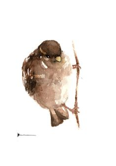 Hey, I found this really awesome Etsy listing at https://www.etsy.com/listing/205839783/sparrow-watercolor-painting-brown-giclee