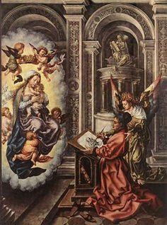 Jan Gossaert, Saint Luke Painting the Madonna, c. (Kunsthistorisches Museum, Vienna) Learn More on Smarthistory Religious Paintings, Religious Art, Catholic Art, Religious Icons, Roman Catholic, Renaissance Paintings, Renaissance Art, Wall Art Prints, Poster Prints