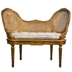 1stdibs | French Louis XIV Style Giltwood Caned Bench