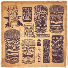 Iconos Aloha Tiki serie Vintage Foto de archivo                                                                                                                                                     More