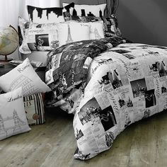 Vintage world map bedding 1626 antique map of north and south passport london and paris king pillow sham in blackwhite gumiabroncs Images