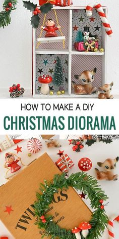 Cute Christmas DIY! In a few easy steps you can recycle a thrift store tea box into a vintage miniature Christmas diorama. Let's craft! thatcraftsite.com Christmas Crafts For Gifts, Handmade Christmas, Christmas Holidays, Christmas Decorations, Christmas Ornaments, Cottage Christmas, Miniature Christmas, Diy Craft Projects, Diy Crafts