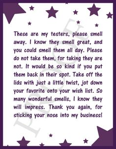 Scentsy Testers Notice Poem Scentsy Card by BeeCreativebyKellie www.modernmamamegan.scentsy.us or www.facebook.com/ModernMamaMegan