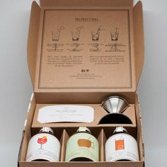 This Natural Cocktail Kit Celebrates Montreal Candle Packaging, Cool Packaging, Gift Box Packaging, Coffee Packaging, Bottle Packaging, Brand Packaging, Packaging Ideas, Coffee Gift Sets, Coffee Gifts