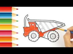 How to drawing and coloring Dump truck Smart kids Tv