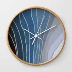 Flowing Blue Shapes Wall Clock
