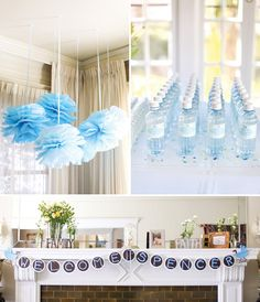Baby Shower Ideas For Boys | ... white florals in mismatched vases + Baby blue tissue pom chandelier