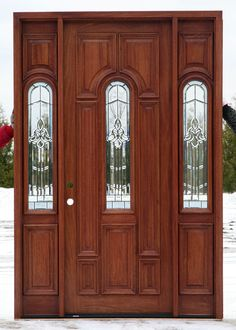Exterior Doors with Sidelights - Solid Mahogany Entry Doors Wooden Front Doors, Painted Front Doors, Glass Front Door, Glass Door, Exterior Doors With Sidelights, Exterior Doors With Glass, Entry Doors, Front Entry, Entryway