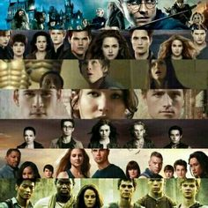 Harry Potter, Twilight, Percy Jackson, The Hunger Games, The Mortal Instruments, Divergent, Ths Maze Runner