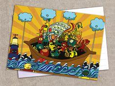 """Postkarte """"Karneval"""" von Granatapfel - Onlineshop mit Illustriertem. auf DaWanda.com"""