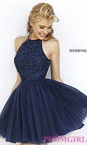Buy Short High Neck Babydoll Dress by Sherri Hill at PromGirl