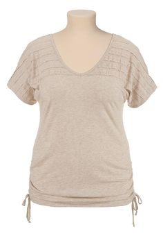 Crochet back cinched side plus size tee - maurices.com