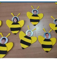 Wooden Craft Bumble Bees For Kids Classroom Birthday, Classroom Themes, Bee Activities, Art For Kids, Crafts For Kids, Birthday Charts, Bee Party, Bee Crafts, Art N Craft