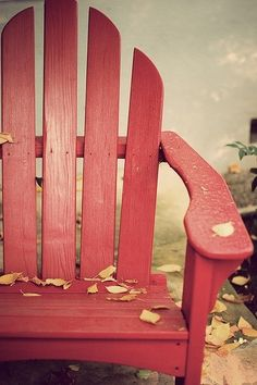 Red chair and falling leaves - or someone spilled the cracker box.....